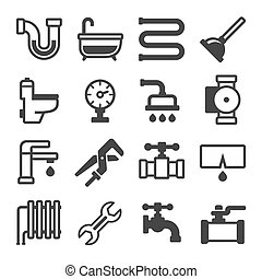 Plumbing Icons Set on White Background. Vector