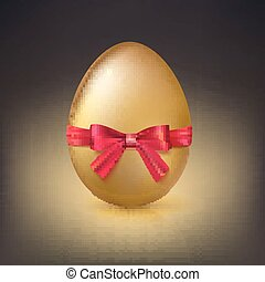 Golden Easter egg with red ribbon and bow vector illustration.