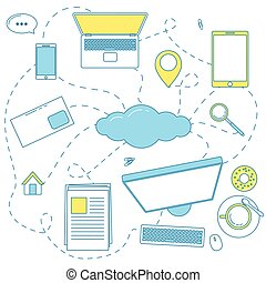 Cloud storage illustration. Connection with files via...