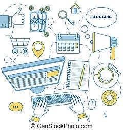 Blogging illustration line design. SEO, promotion,...