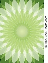 Green abstract background with semitransparent white rosetta