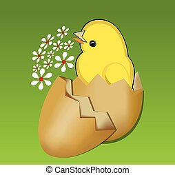 Cute spring theme with beautifull yellow chic in egg-shell...