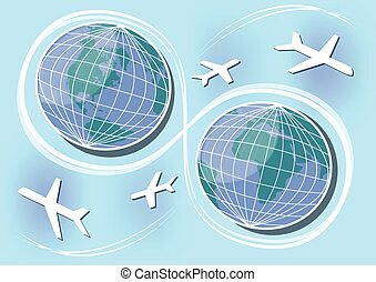 Western and Eastern Hemisphere, air paths and connections in...
