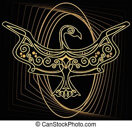 Mythologic ornamental bird silhouette, tribal symmetric drawing on black background with gold curves