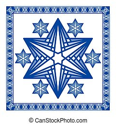 Star of David decoration tile. Composed of simply shapes in...