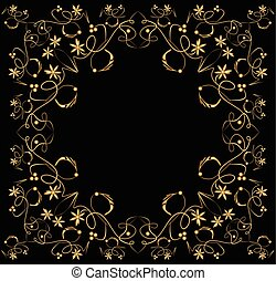Embossed filigree golden frame on black background. Classic vintage patterns with flower, swirl and leaf shapes, horizontal and vertical symmetric