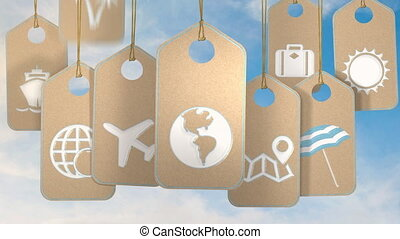 Travel and holidays concept - Tags with symbols and icons...