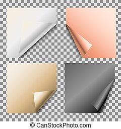 Curled metallic foil blank vector empty note paper.