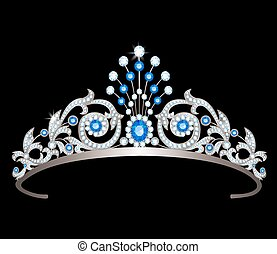 tiara with sapphires - Vintage silver diadem decorated with...