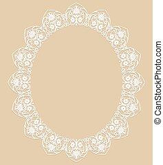 White oval frame