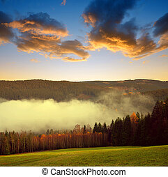 Beautiful landscape in the National park Sumava at sunset,...