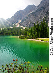 Lago di Braies ( Pragser Wildsee ) in Dolomites mountains,...