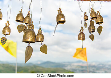 Tradition asian bells in Buddhism temple in Phuket...