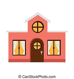 exterior house winter season vector illustration design