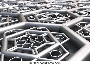 hexagonal abstract background perspective 3d illustration