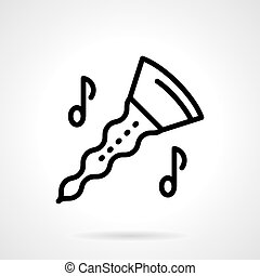 Oboe with notes simple line vector icon - Musical instrument...