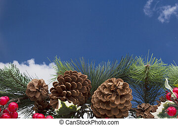 Old fashion garland background, Garland with pine cones and...