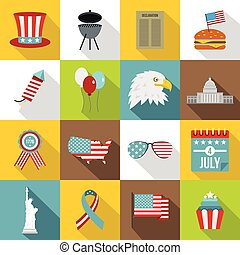 Independence day flag icons set, flat style