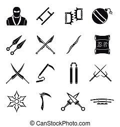 Ninja tools icons set, simple style - Ninja tools icons set....
