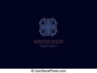 Creative logo, abstract geometric lines with rounded, winter...