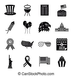 Independence day flag icons set, simple style