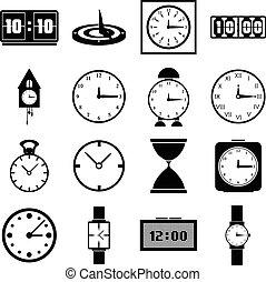 Clocks icons set, simple style - Clocks icons set. Simple...