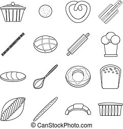 Bakery products icons set, outline style - Bakery products...