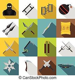 Ninja tools icons set, flat style - Ninja tools icons set....