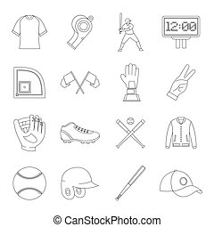 Baseball icons set, simple style - Baseball icons set....
