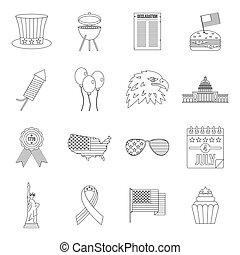 Independence day flag icons set, outline style -...