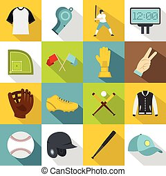 Baseball icons set, flat style - Baseball icons set. Flat...