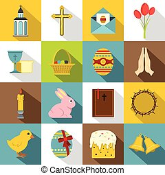 Easter items icons set, flat style