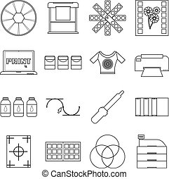Print items icons set, outline style - Print items icons...