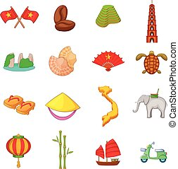Vietnam travel icons set, cartoon style - Vietnam travel...