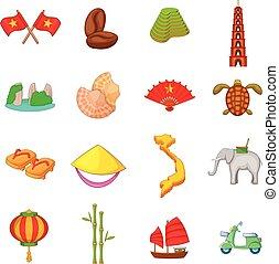 Vietnam travel icons set, cartoon style - Vietnam travel...