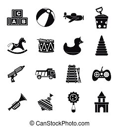 Different kids toys icons set, simple style - Different kids...