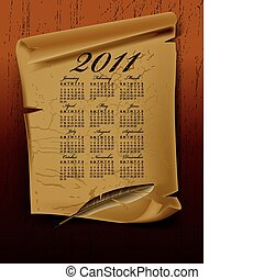 Old paper with calendar 2011 year on dark board Vector...