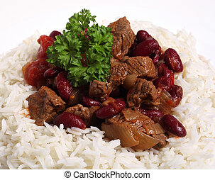 Chili con carne with rice - Chili-con-carne served on a bed...