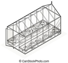 Outlined isometric greenhouse with glass walls, foundations,...