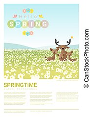 Hello spring landscape background with deer family 3 - Hello...