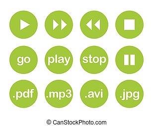 Play vector button or green icon set