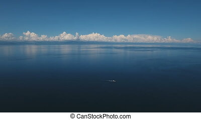 Motorboat on the sea, aerial view.Cebu island Philippines. -...