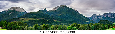 Panorama of alpine mountains in Berchtesgaden national park,...