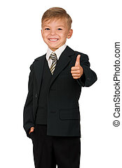 Boy in suit isolated on white background. Beautiful...
