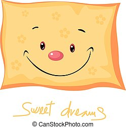 cute pillow sweet dreams - vector illustration