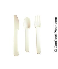 disposable silverware - set of white disposable silverware...
