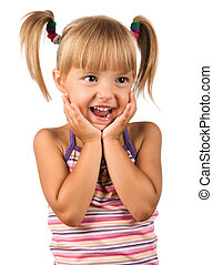Portrait of emotionally kid. Funny little girl isolated on...