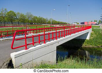 red pedestrian bridge
