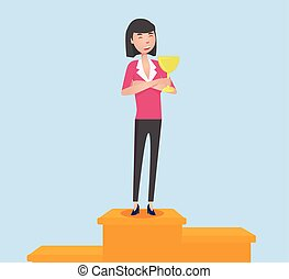Smiling woman with winning cup staying on pedestal