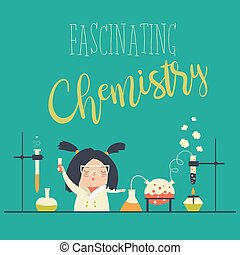 Girl working in the chemistry laboratory. Vector...